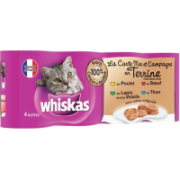 Pack de 4 Pâtées WHISKAS La Carte Mer & Campagne en Terrine pour Chat