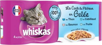 """""""La carta del pescador en gelatina"""" para gatos Whiskas, 4 sabores"""