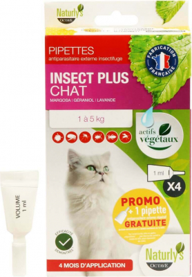 Pipettes antiparasitaire insectifuges chat Naturly's