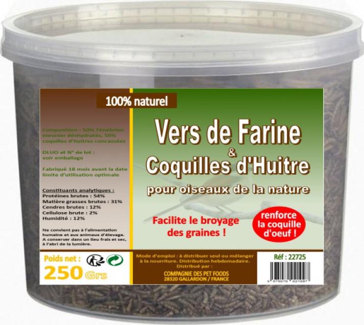 Larvas de farinha desidratadas para aves de galinheiro