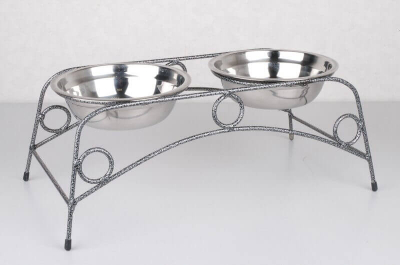 Twin Stainless Steel Bowls and Stand