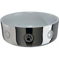 Ecuelle céramique argent et blanc pour chien
