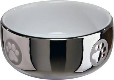Comedero de cerámica  color plateado y blanco para gato