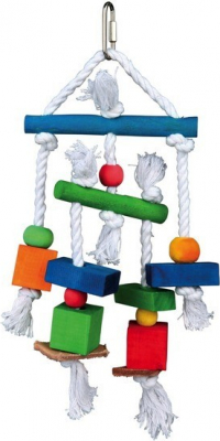Wooden Toy on a Rope, Colourful