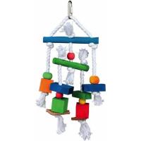 Jouet pour oiseau avec pièces de bois et cordes