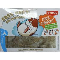 TYROL Nid pour Rongeur. 100% Fibres naturelles de Coco, Sisal et Coton. Coloris Blanc. 50G