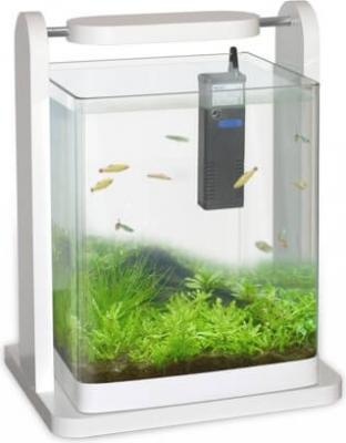Aquarium 25x25x30 cm design blanc  avec éclairage led et filtre