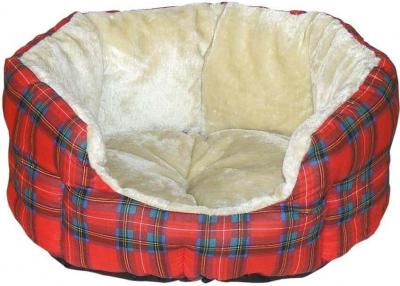 Corbeille ouatiné rouge écossais