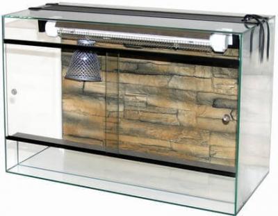 Terrarium avec galerie et lampe
