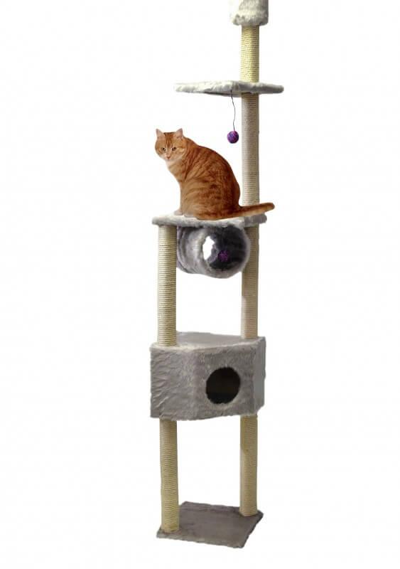 arbre chat duo gris du sol au plafond arbre chat. Black Bedroom Furniture Sets. Home Design Ideas