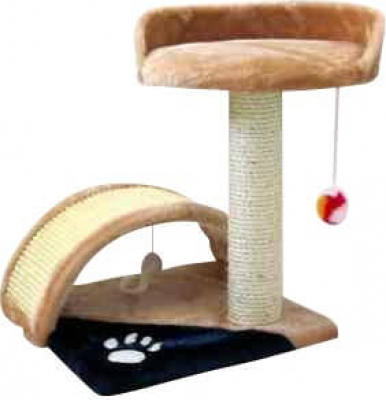 Árbol para gato con túnel de juego beige-azul
