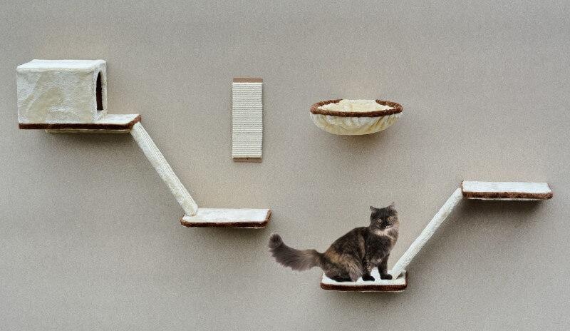 Arbre à chat avec passerelles 8 pièces