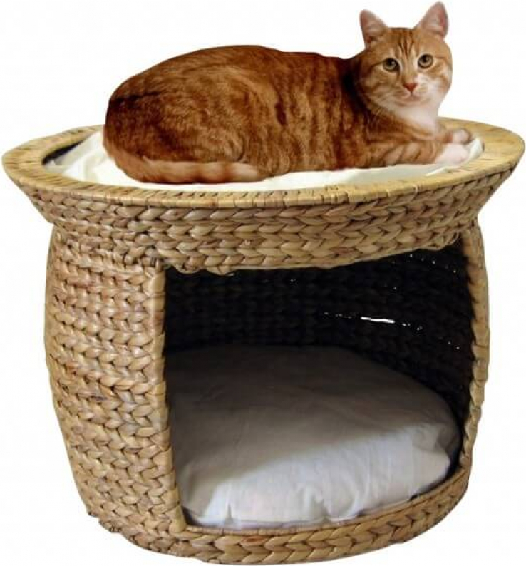Panier pour chat jacinthe d'eau avec coussin beige