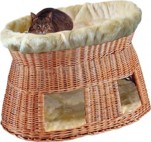 panier pour chat avec coussins beiges couchage pour chat. Black Bedroom Furniture Sets. Home Design Ideas
