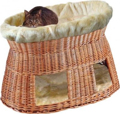 Panier pour chat avec coussins beiges