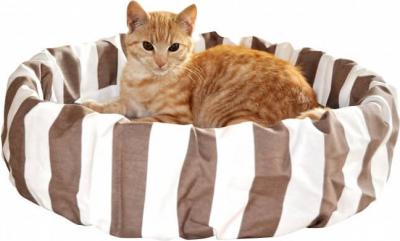 Corbeille à rayures pour chat marron-beige
