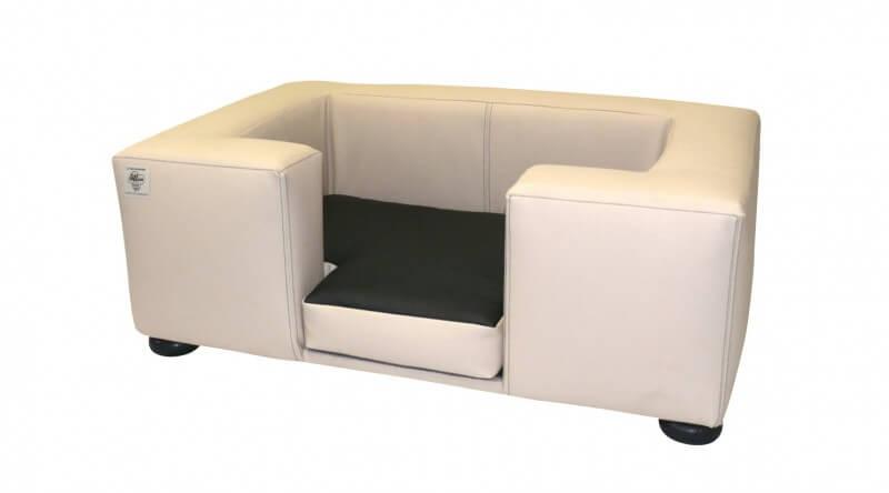 Canap pour chien compact en simili cuir gr 1 beige Panier design pour chien