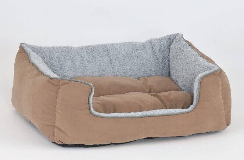Canap pour chien cooper gris beige panier et corbeille Canape daim gris