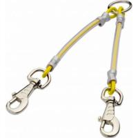 Accouple 2 chiens câble métallique gainé - 2 mousquetons - Jaune
