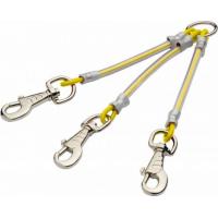 Accouple 3 chiens câble métallique gainé - 3 mousquetons - Jaune