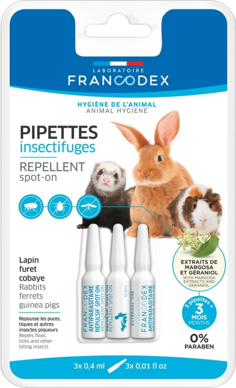 Francodex Pipettes Spot-On Insectifuge Grand Rongeur - Repousse les parasites