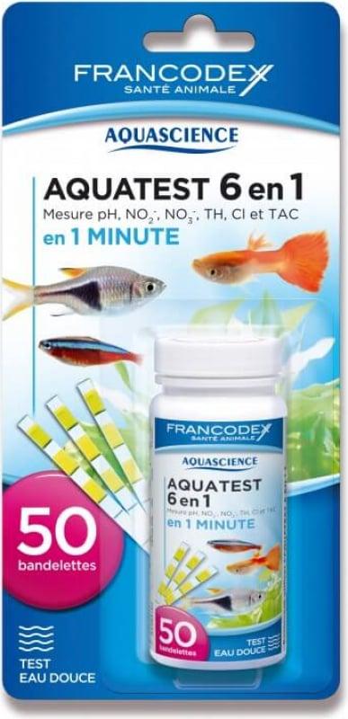 Aquatest 6 en 1 - 50 bandelettes - Mesure pHB, nitrites, nitrates, chlore, TH et T.A.C. (eau douce)