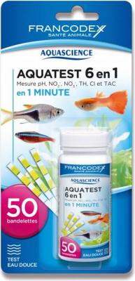 Francodex Aquatest 6en1 - 50 bandelettes - Mesure pHB, nitrites, nitrates, chlore, TH et T.A.C. (eau douce)