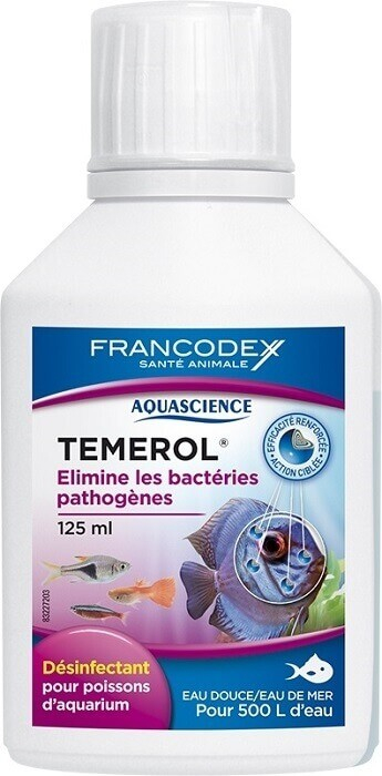 Témerol 125ml - Désinfectant pour poissons d'aquarium. Elimine les bactéries pathogènes (eau douce - eau de mer)