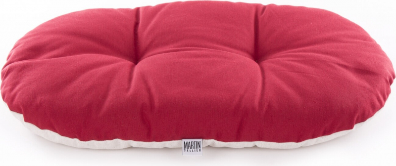 Coussin ovale rouge bicolore