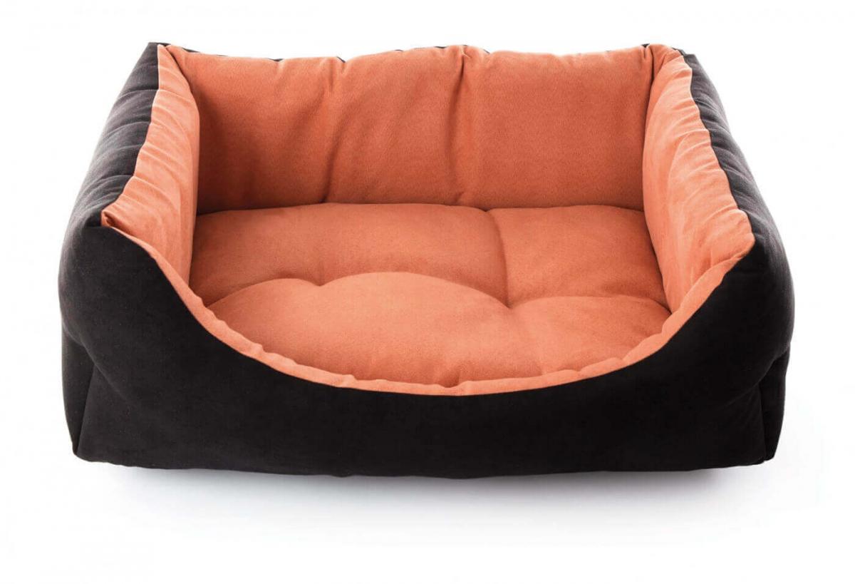 Corbeille domino Suédine bicolore noir/orange_0