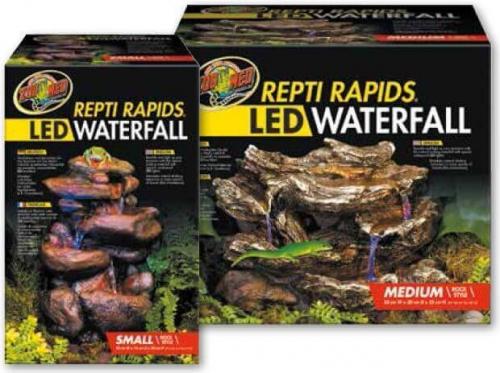LED Wasserfall mit natürlicher Felsdekor