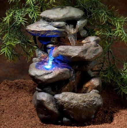 LED Wasserfall mit natürlicher Felsdekor_2