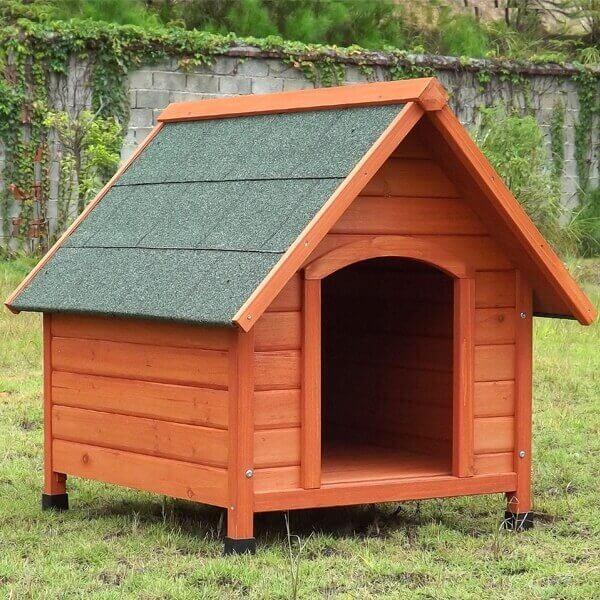 Niche pour chien en bois à toit pentu Akira