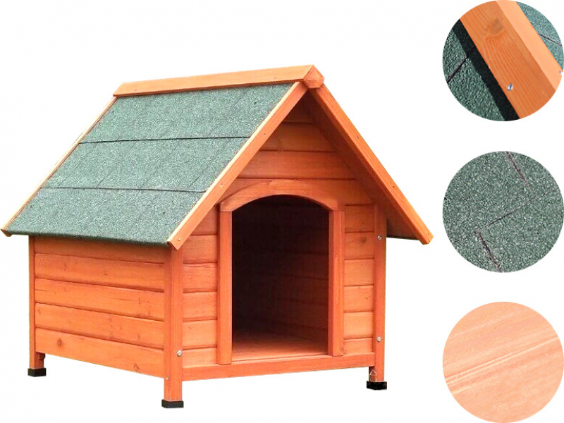 Niche pour chien en bois à toit pointu Akira ZOLIA