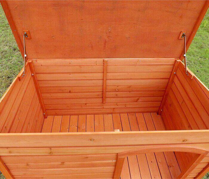 caseta para perro de madera con techo plano toutou