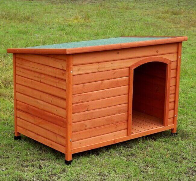 Niche chien en bois API à toit plat et rabattable