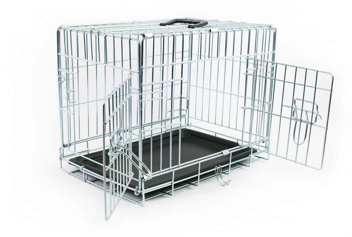 Jaula de metal para transporte con doble puerta plegable