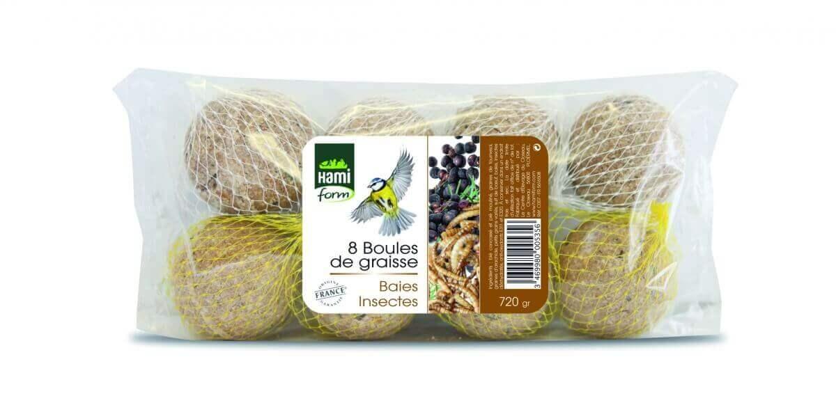 boules de graisse baies et insectes par 8 nourriture oiseaux. Black Bedroom Furniture Sets. Home Design Ideas