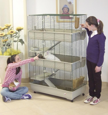 Cage pour lapins, cobayes et furets 100cm 3 étages beige