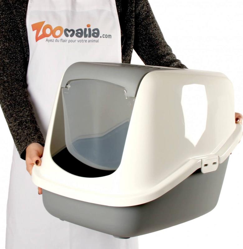 Maison de toilette Nestor pour chat - Blanc/Gris
