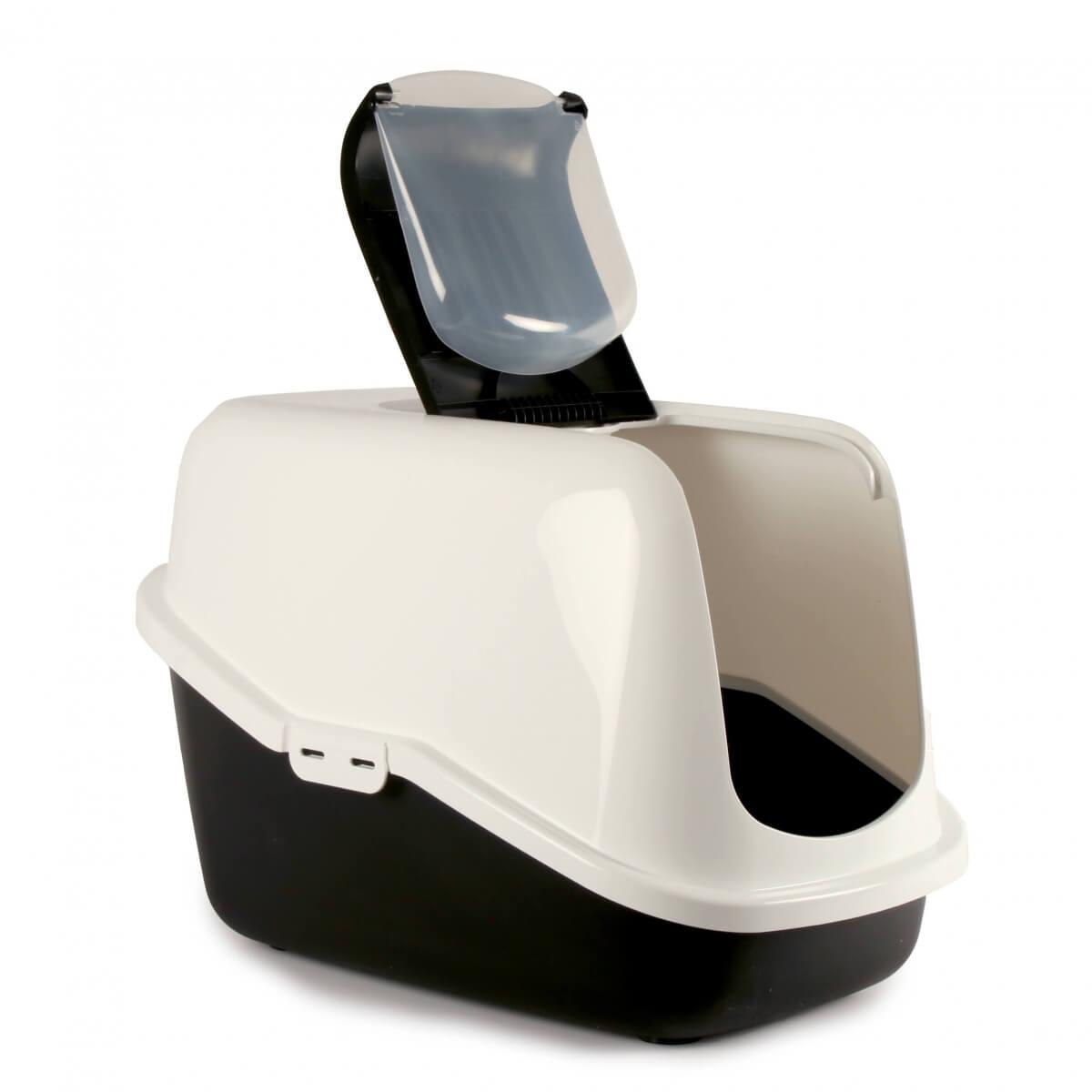 maison de toilette nestor pour chat blanc noir bac. Black Bedroom Furniture Sets. Home Design Ideas