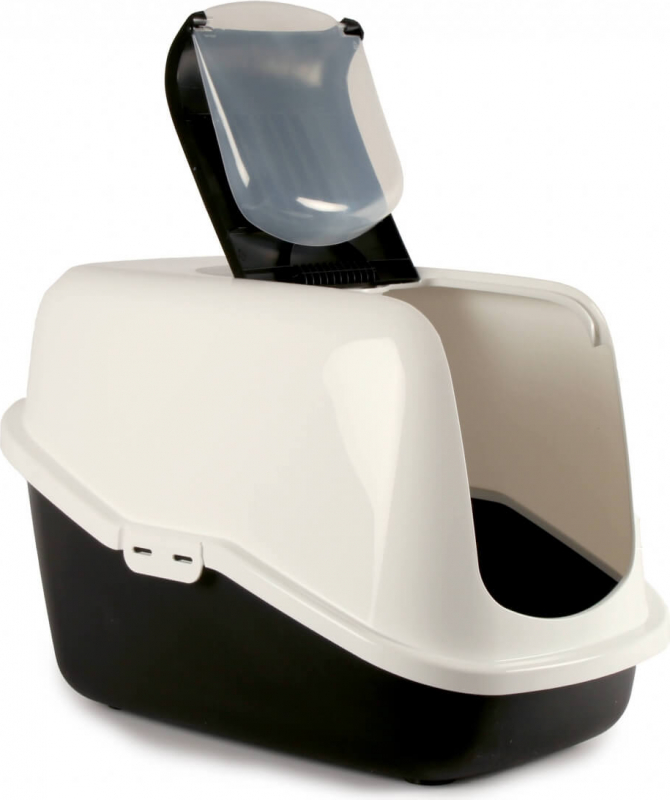 Maison de toilette Nestor pour chat - Blanc/Noir