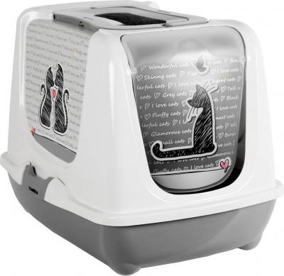 Maison de toilette Cat's in love gris blanc pour chat