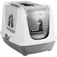 Maison de toilette Cat's in love gris blanc pour chat