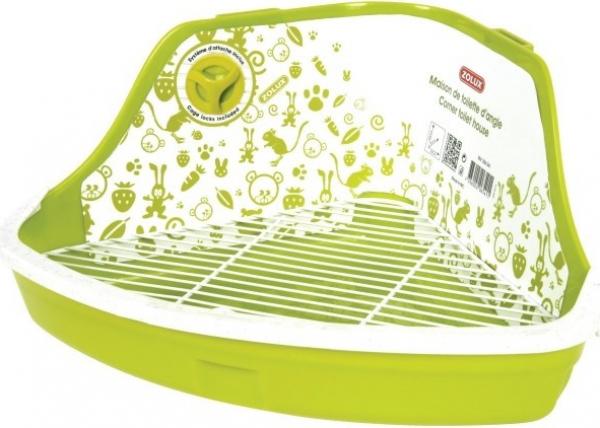 Bandeja sanitaria esquinera verde para roedores