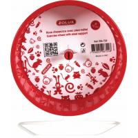 Roue plastique sur pied métal rouge