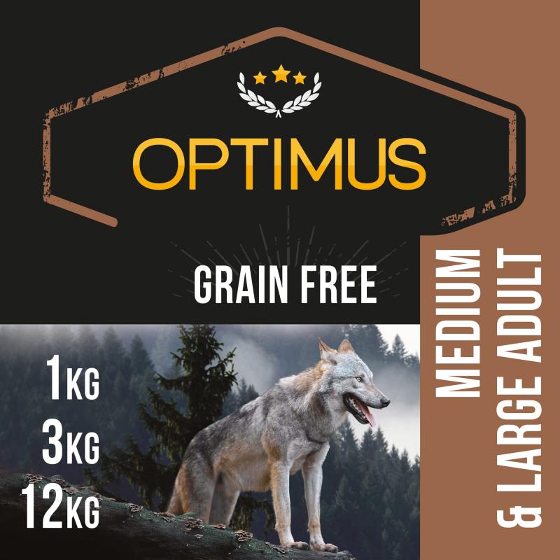 OPTIMUS Adult Grain Free Sans céréales pour Chien de Moyenne et Grande taille