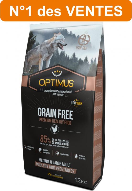 OPTIMUS Adult Grain Free Sans céréales pour Chien