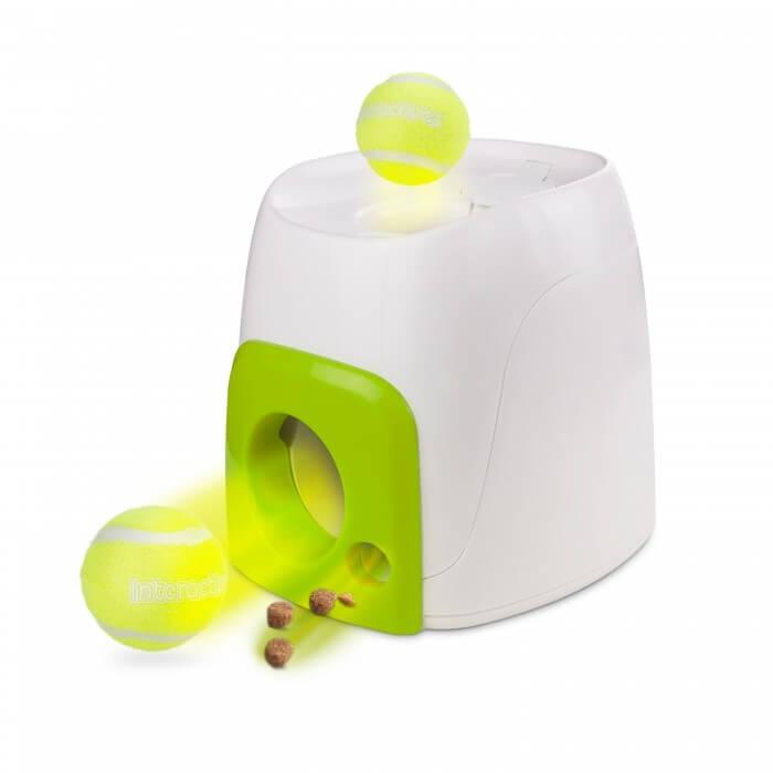 Distributeur automatique balle et friandises fetch 39 n treat jouet pour chien - Lanceur de balle pour chien automatique ...
