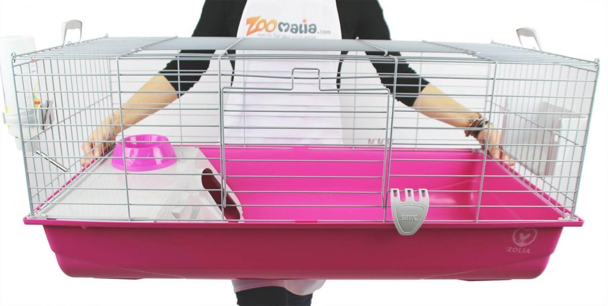 Cage ZOLIA Pinky 3 100cm édition Fuchsia toute équipée pour Lapin_6